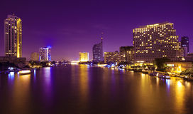 City And The River In The Night Time. Stock Photography