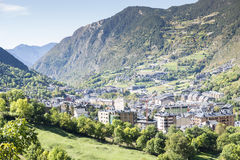 City of Andorra La Vella. City of Andorra La Vella view from the mountain royalty free stock images