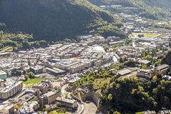 City of Andorra La Vella. City of Andorra La Vella view from the mountain stock photo