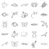 City animals icons set, outline style. City animals icons set. Outline set of 25 city animals vector icons for web isolated on white background Stock Images