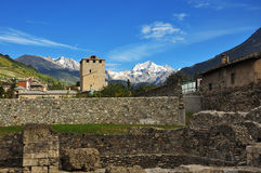 City of Aosta, Italy. Roman ruins Stock Photography