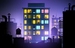 Free City Apartment Block With People In Windows Stock Photography - 180987732