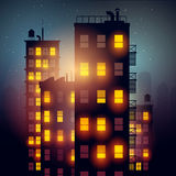City Apartments At Night Stock Photography