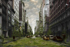 City Apocalypse. A post-apocalyptic abandoned city overgrown with weeds and decay royalty free stock image