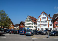 City of Appenzell, Switzerland. APPENZELL APR 16: lovely traditional Swiss houses in Appenzell, Switzerland on April 16, 2012. Appenzell became a full member of royalty free stock photos