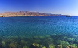 The city of Aqaba in Jordan and the Gulf of Aqaba of the Red Sea. Nature royalty free stock photography
