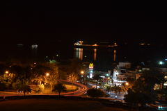 City of Aqaba at night. Aqaba city in southern Jordan with the Red Sea in the distance stock photography