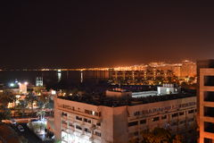 City of Aqaba at night. Aqaba city in southern Jordan with the Red Sea in the distance royalty free stock photo