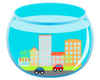 City in the aquarium. City with road and cars under water in an aquarium. Vector illustration Royalty Free Stock Photography