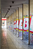 City arcade. View of an arcade with wall graffiti. Centre of Athens city, Greece Royalty Free Stock Photography