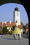 City in arch - Sibiu Royalty Free Stock Photography