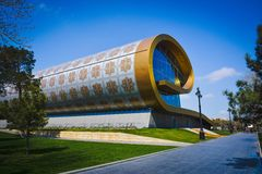City architecture of Baku, modern building Carpets museum Stock Photography