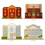 City architecture: cinema, theater, museum and library buildings royalty free illustration
