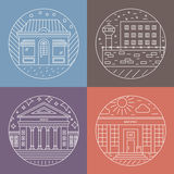 City architecture icons. Vector illustration of different govenmental buildings including museum, post office, prison. Trendy line style vector illustration Royalty Free Stock Photography