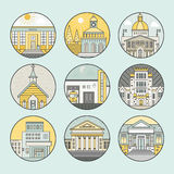 City architecture icons. Vector illustration of different govenmental buildings including police station, post office, capitol. Trendy line style vector Royalty Free Stock Image
