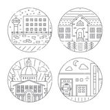 City architecture illustrations. Vector illustration of different govenmental buildings including capitol, fire department, prison. Trendy line style vector Royalty Free Stock Images