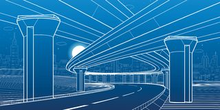 City architecture and infrastructure illustration, automotive overpass, big bridges, urban scene. Night town. White lines on blue royalty free illustration
