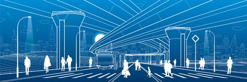 City architecture. Infrastructure illustration, transport overpass, big bridge, urban scene. Bus move. People walking at street. N. Ight town highway. White vector illustration