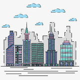City architecture skyline vector illustration in thin line flat design. Cityscape and urban landscape graphic concept Stock Photos