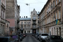 City architecture. Street in the city of Lviv Ukraine 03.15.19. City architecture. Street in the city of Lviv Ukraine, 03.15.19 royalty free stock photography