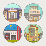 City architecture. Vector illustration of different govenmental buildings including museum, university, fire department. Flat style vector illustration. City Royalty Free Stock Images