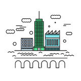 City architecture vector illustration. Urban landscape with skys Royalty Free Stock Image