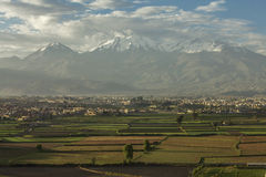 City of Arequipa, Peru with its fields and volcano Chachani Royalty Free Stock Image