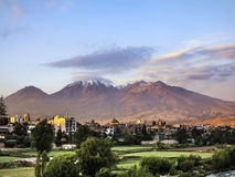 City of Arequipa, Peru with its iconic volcano Chachani in the. Close up of city of Arequipa, Peru with its iconic volcano Chachani in the background Royalty Free Stock Photo