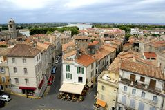 The city of Arles in France. Bird view of the city of Arles in France. No number plates, no brand names and no people royalty free stock photo