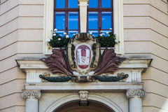 City arms on the town hall of Crimmitschau, Germany, 2015 Royalty Free Stock Images