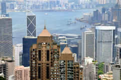 City arround harbor, Hongkong view Royalty Free Stock Image