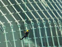 City of Arts and Science  in Valencia, Spain, cleaning of windows royalty free stock image