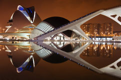 City of arts and sciences. Night scene at the city of arts and sciences in valencia. Ciutat de les Arts i les Ciències is a cultural and architectural complex stock photo