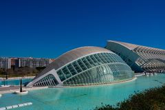 City of Arts and Sciences. Architects Santiago Calatrava and Felix Candela. Valencia, Spain. February 6, 2019. Hemisferic building. City of Arts and Sciences royalty free stock images