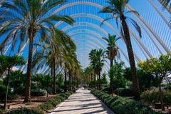 City of Arts and Sciences. Architects Santiago Calatrava and Felix Candela. Valencia, Spain. February 6, 2019. L Umbracle a sculpture garden and landscaped walk stock photo