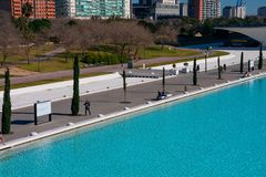 City of Arts and Sciences. Architects Santiago Calatrava and Felix Candela. Valencia, Spain. February 6, 2019. Light blue water pools. City of Arts and Sciences royalty free stock photo
