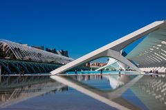 City of Arts and Sciences. Architects Santiago Calatrava and Felix Candela. Valencia, Spain. February 6, 2019. Water pool outside Prince Philip Science Museum stock images