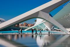 City of Arts and Sciences. Architects Santiago Calatrava and Felix Candela. Valencia, Spain. February 6, 2019. Water pool outside Prince Philip Science Museum royalty free stock photo