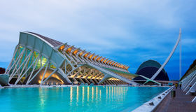 City of Arts and Sciences  in dusk. Valencia. VALENCIA, SPAIN - AUGUST 26: City of Arts and Sciences on August 26, 2013 in Valencia, Spain Stock Images