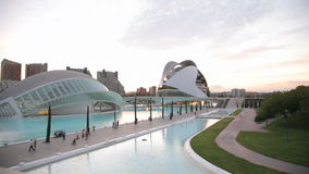 The City of Arts and Sciences, Valencia, Spain. The City of Arts and Sciences is an entertainment-based cultural and architectural complex in the city of stock video