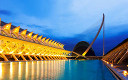 City of Arts and Sciences  in  evening Stock Photos