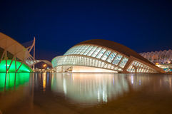The city of the Arts and Sciences at night in Valencia, Spain. Royalty Free Stock Image