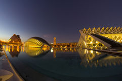 City of the arts and the sciences in the night Royalty Free Stock Images