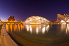 City of the arts and the sciences in the night Stock Photos