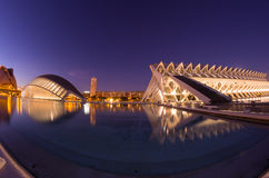 City of the arts and the sciences in the night Stock Images