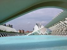 View under a bridge of the city of the Arts and the Sciences of Valencia. Spain. The City of the Arts and the Sciences. Single architectural complex. White iron Stock Images