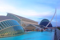 The City of Arts and Sciences after sunset. Valencia, Spain   November 17, 2012: A view of the City of Arts and Sciences complex after sunset. The Hemispheric Royalty Free Stock Photography
