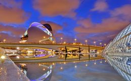Valencia, Spain. City of Arts and Sciences at sunset in Valencia, Spain stock photo