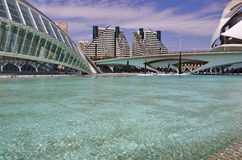 City of Arts and Sciences in Valencia. The big pool, the Palau de les arts, the Hemisferic and the surrounding buildings of the City of arts and sciences (Ciudad Stock Images