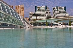 City of Arts and Sciences in Valencia. The big pool and the surrounding buildings of the City of arts and sciences (Ciudad de las artes y las Ciencias) in the Stock Image